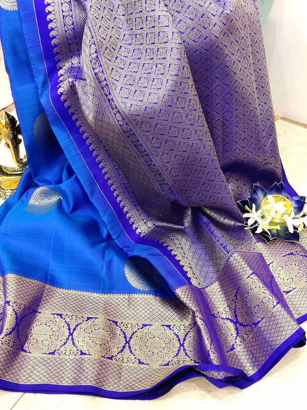 Pure kanchivaram silk saree blue and violet with golden zari woven buttas and zari woven border