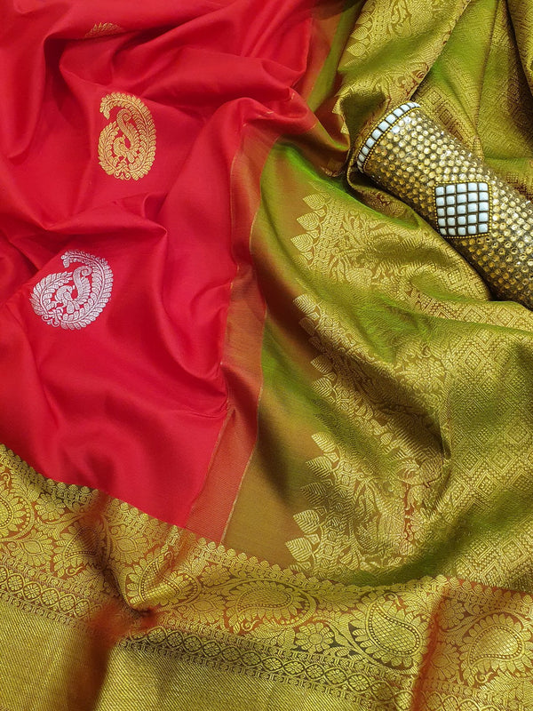 Pure kanchivaram silk saree red and green with golden zari woven buttas and zari woven border