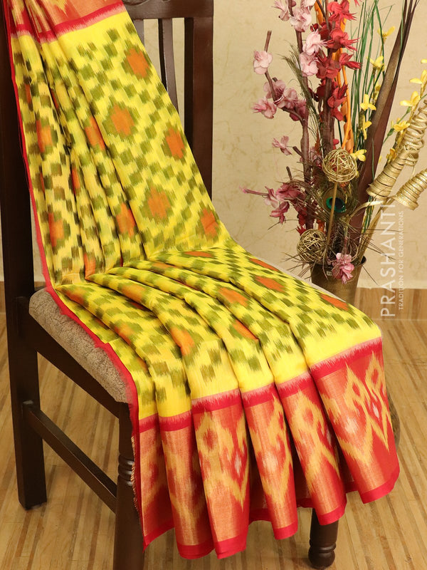 Ikat silk cotton saree lime yellow and red with ikat woven long zari border