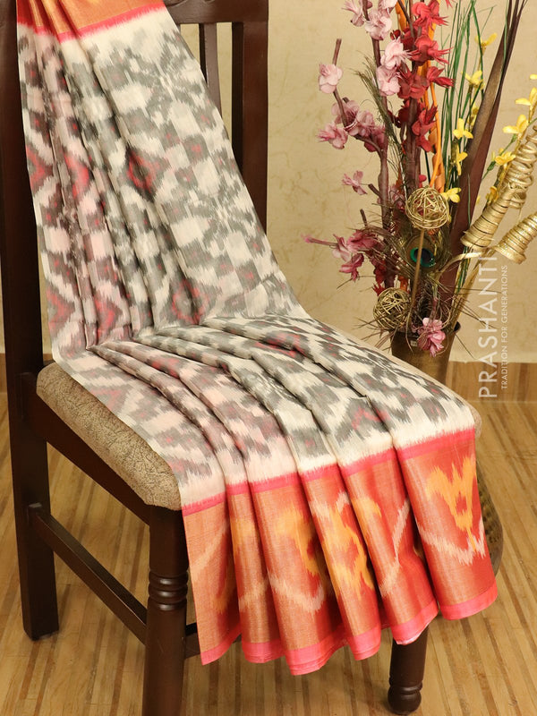 Ikat silk cotton saree off white and peach pink with ikat woven long zari border
