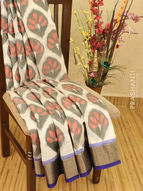 Ikat silk cotton saree off white and blue with ikat weaves and zari border