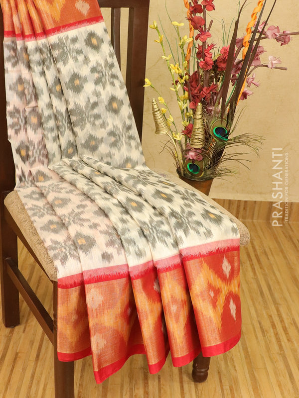 Ikat silk cotton saree off white and red with ikat woven long zari border