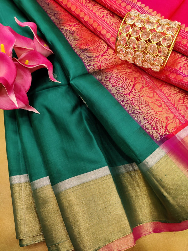 Pure soft silk saree green and dual shade of orange pink with zari woven buttas and zari woven border