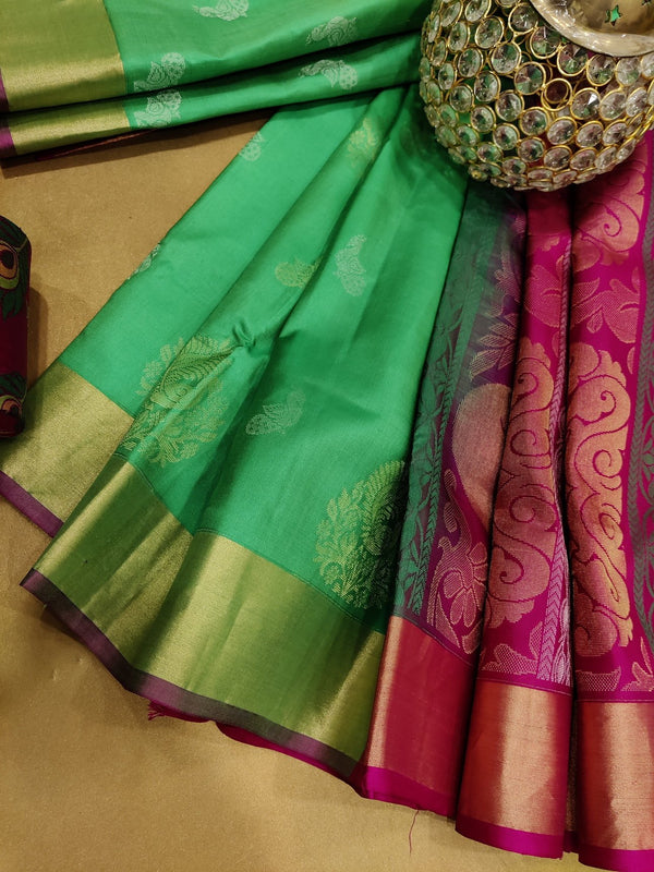 Pure soft silk saree teal green and pink with zari woven buttas and zari woven border