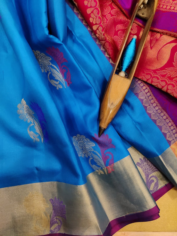 Pure soft silk saree cs blue and pink with thread and zari woven buttas and zari border