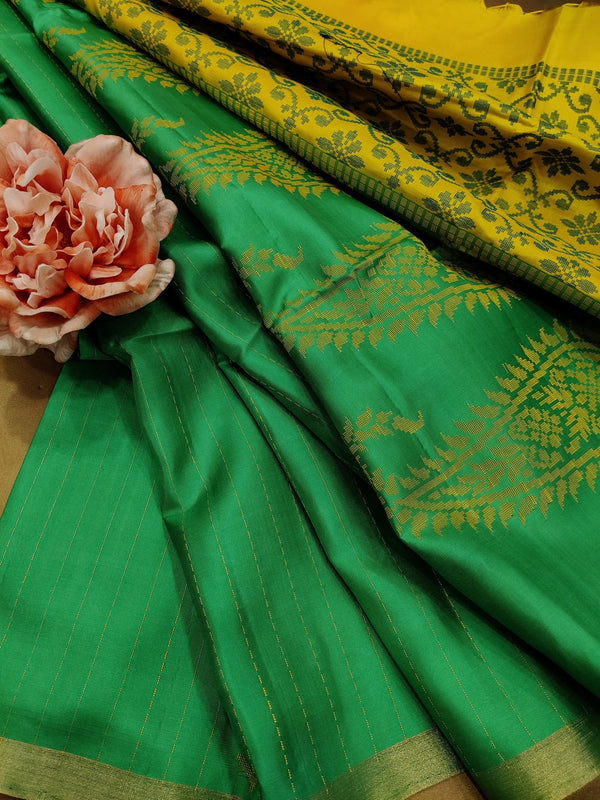 Pure soft silk saree green and yellow with thread woven buttas and simple border
