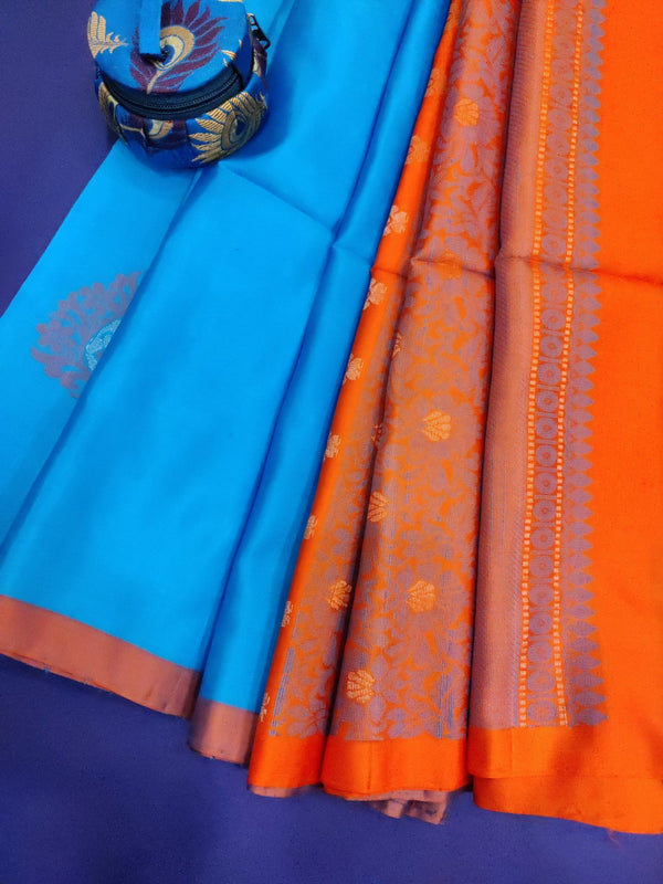 Pure soft silk saree cs blue and orange with thread and zari woven buttas and piping border