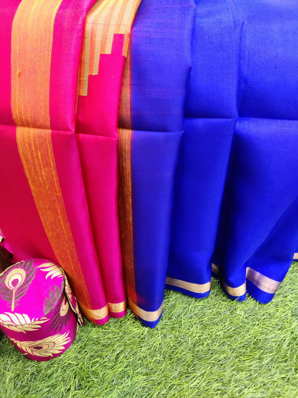 Pure soft silk saree royal blue and pink with thread woven temple border