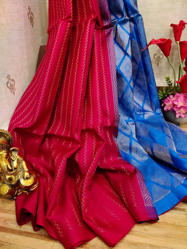 Pure soft silk saree pink and cs blue with allover zari lines in borderless style