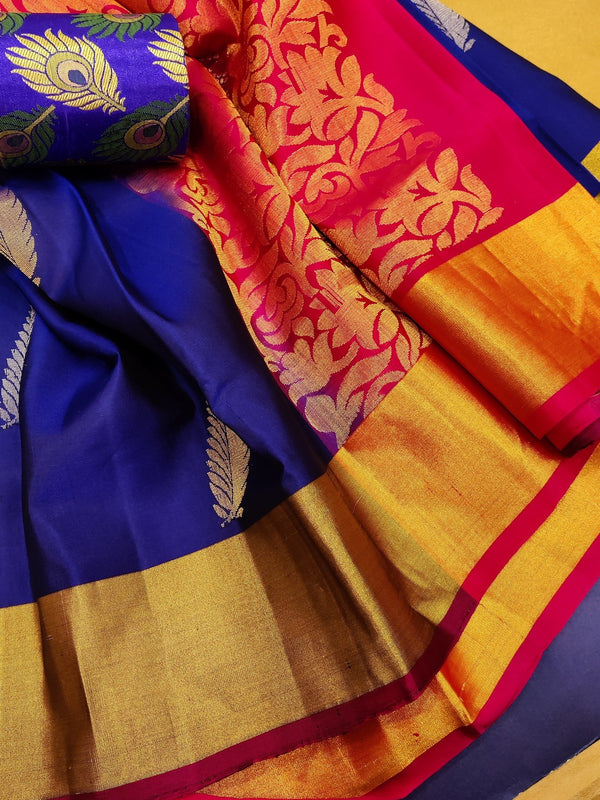 Pure soft silk saree blue and pink with zari woven buttas and zari woven border