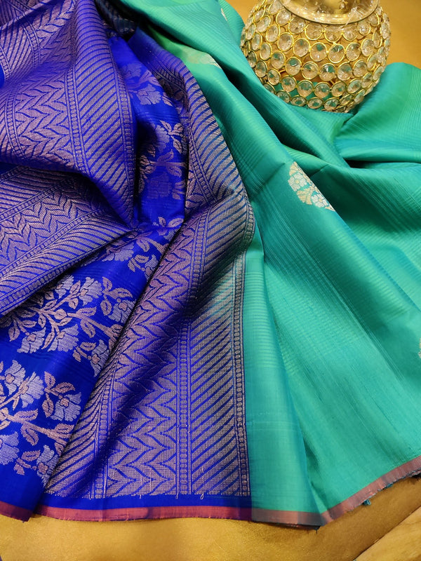 Pure soft silk saree teal and blue with zari woven buttas in piping border