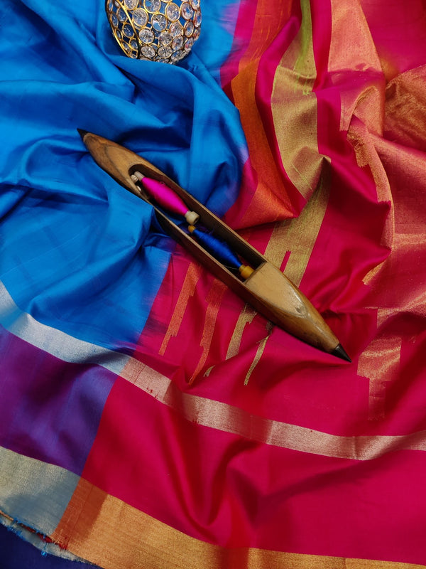 Pure soft silk saree cs blue and pink with checked pattern self emboss and zari border
