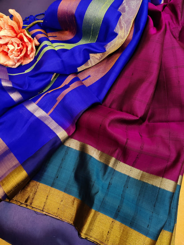Pure soft silk saree grapewine and blue with checked pattern self emboss and zari border