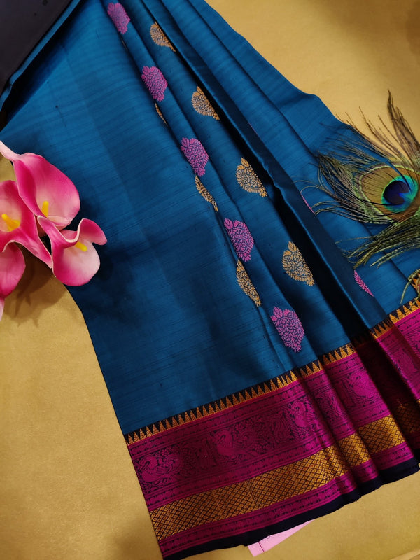 Pure soft silk saree peacock blue and navy blue with thread woven buttas and border for Rs.Rs. 8550.00 | Silk Sarees by Prashanti Sarees