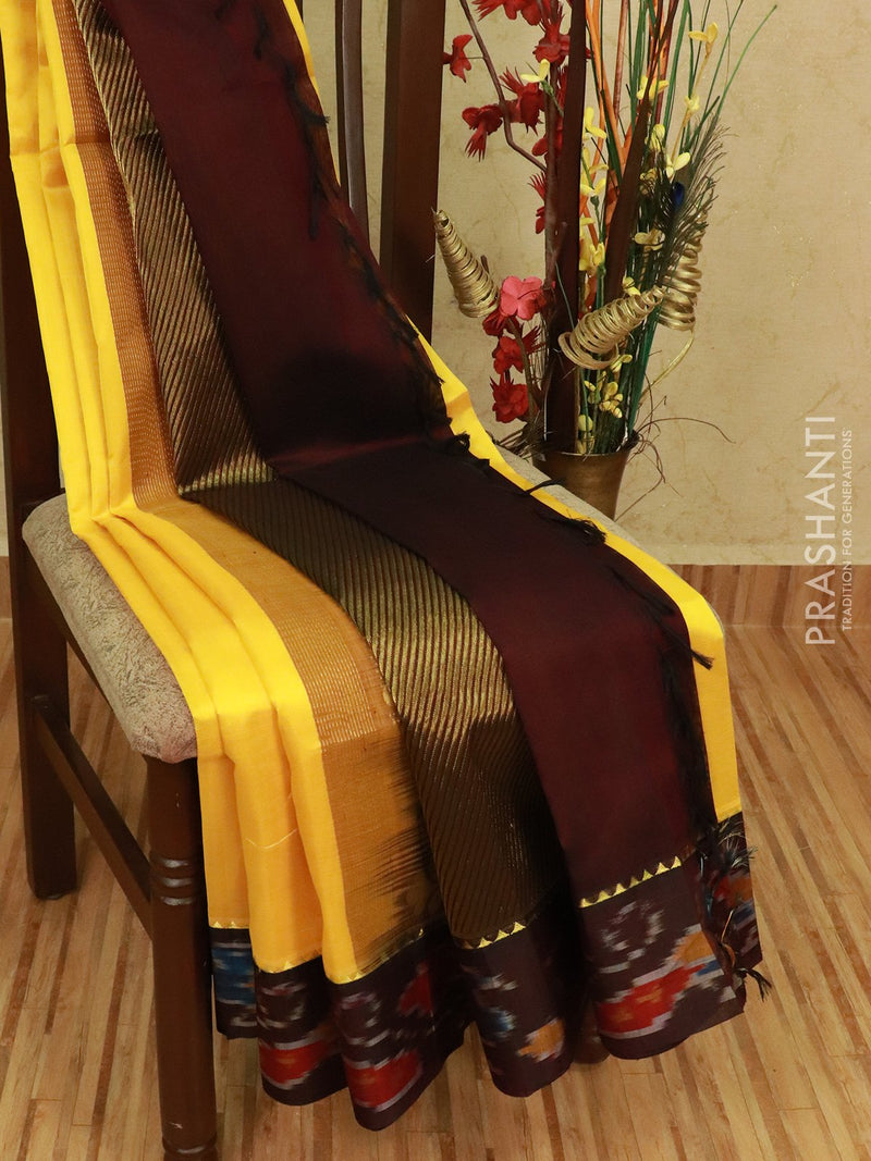 Kuppadam silk cotton saree yellow and coffee brown with plain body and ikat order