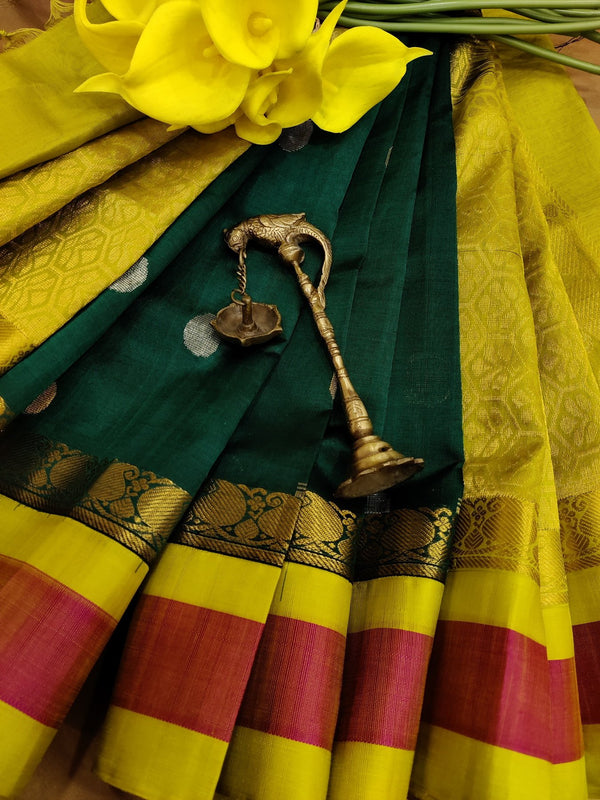 Kuppadam silk cotton saree green and lime green with zari woven buttas and simple border