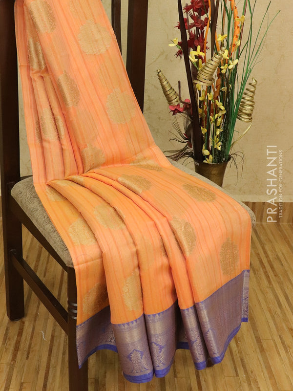 Semi Katan saree peachish orange and blue with thread and zari woven buttas and zari border