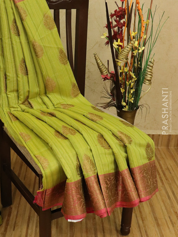 Semi Katan saree lime green and pink with thread and zari woven buttas and zari border