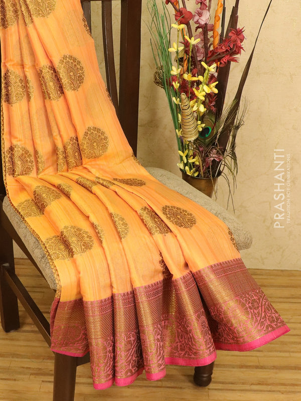 Semi Katan saree mild orange and pink with thread and zari woven buttas and zari border