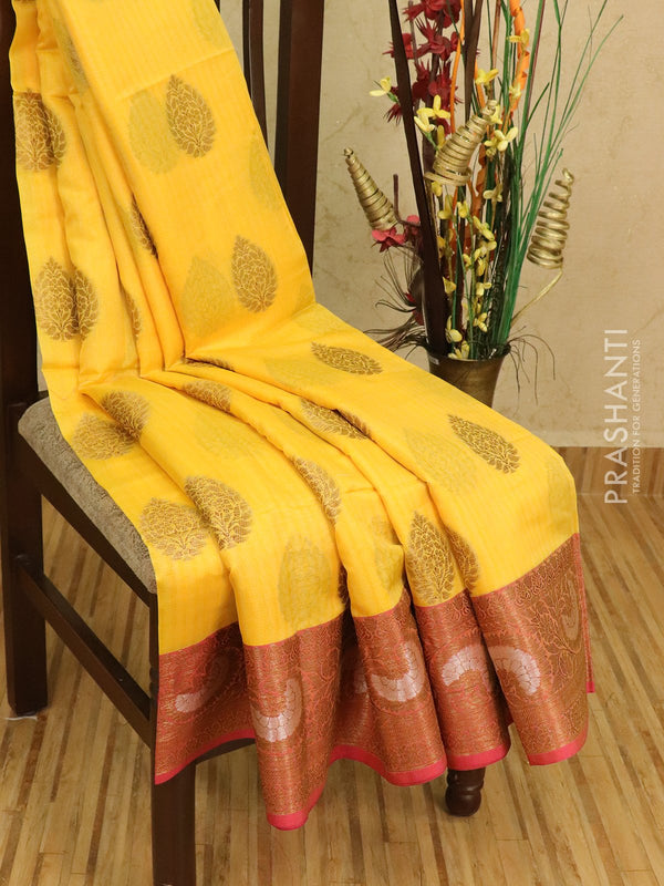 Semi Katan saree yellow and pink with thread and zari woven buttas and zari border