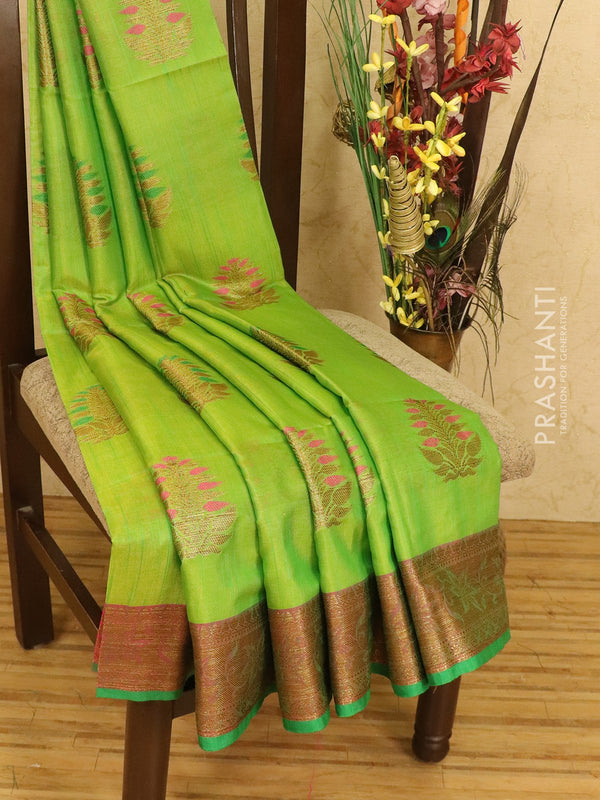 Semi Katan saree green and pink with thread and zari woven buttas and zari border