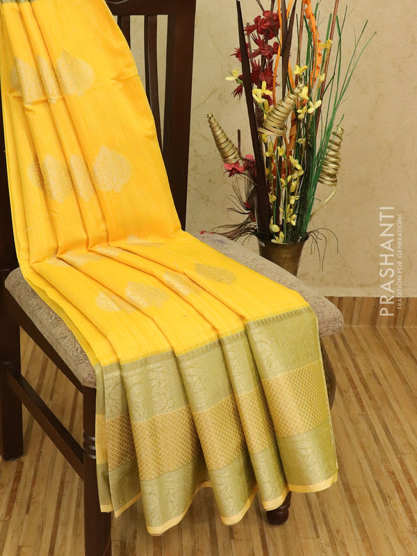 Semi Katan saree yellow with thread and zari woven buttas and zari border