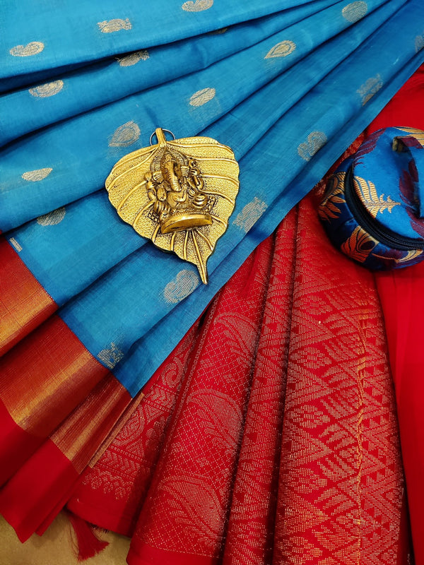Kuppadam silk cotton saree cs blue and red with zari woven buttas and rich zari woven border