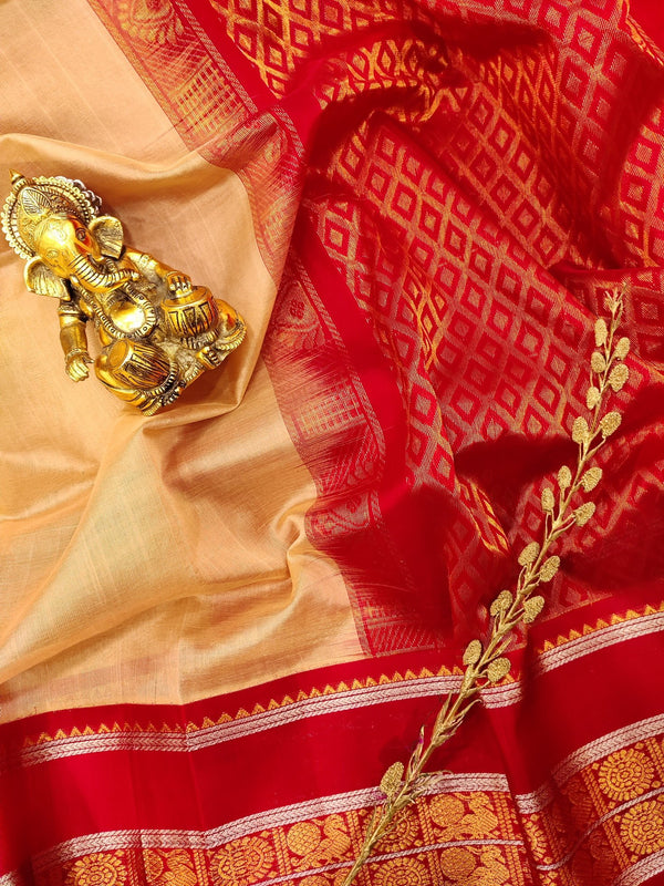 Kuppadam silk cotton saree beige and red with plain body and zari woven border