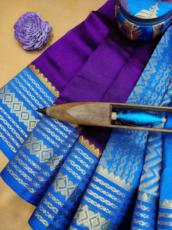 Kuppadam silk cotton saree purple and blue with plain body and zari woven border