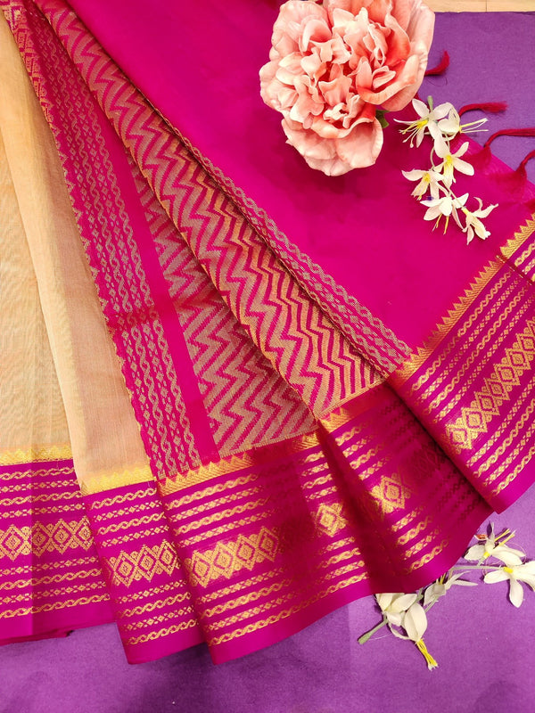 Kuppadam silk cotton saree beige and pink with plain body and zari woven border