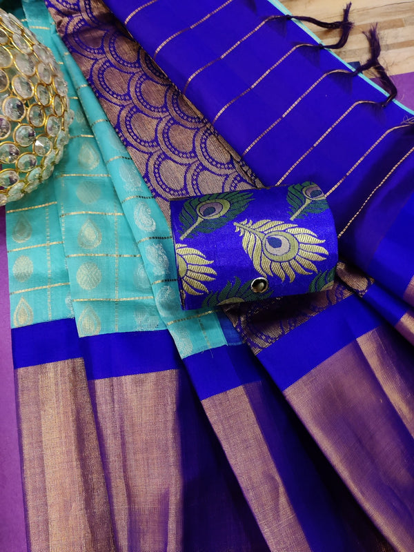 Kuppadam silk cotton saree blue and violet with zari checks and buttas with zari woven border