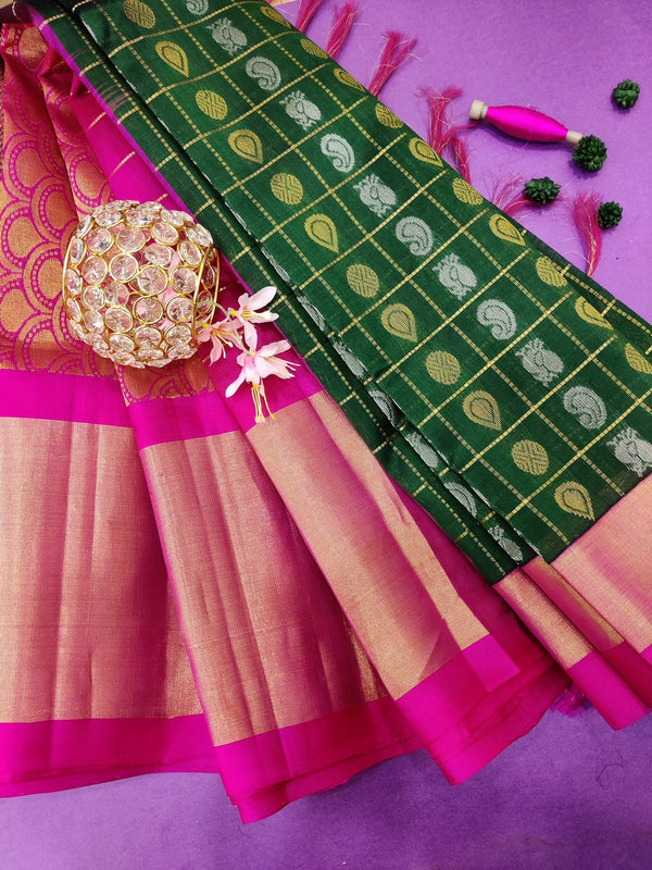 Kuppadam silk cotton saree bottle green and pink with zari checks and buttas with zari woven border