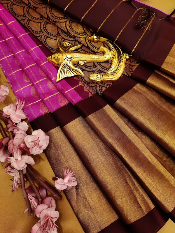 Kuppadam silk cotton saree pink and coffee brown with zari checks and buttas with zari woven border