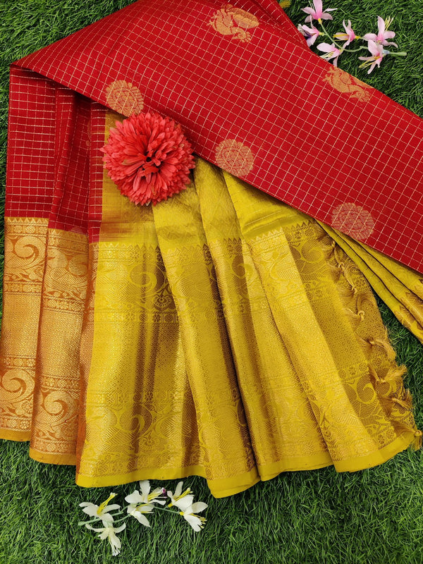 Kuppadam silk cotton saree red and lime green with zari checks and buttas with zari woven border