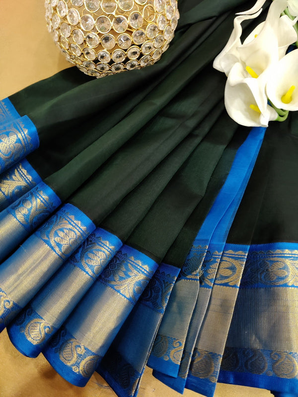 Kuppadam silk cotton saree bottle green and cs blue with plain body and zari woven border