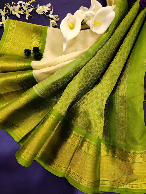 Kuppadam silk cotton saree off white and green with plain body and zari woven border