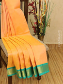 Silk cotton saree dual shade of peach and teal with rich korvai zari border
