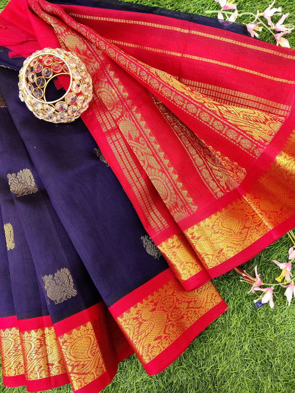 Silk cotton saree navy blue and red with zari woven buttas and zari border