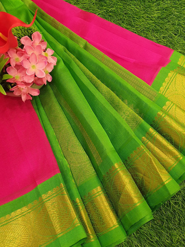 Silk cotton saree pink and green with rich korvai zari border