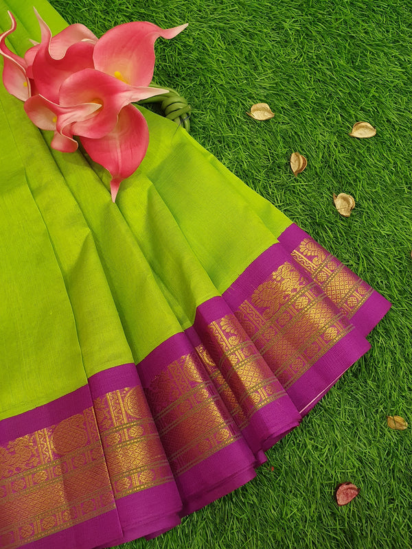 Silk cotton saree lime green and purple with rich korvai zari border for Rs.Rs. 5150.00 | Silk Cotton Sarees by Prashanti Sarees