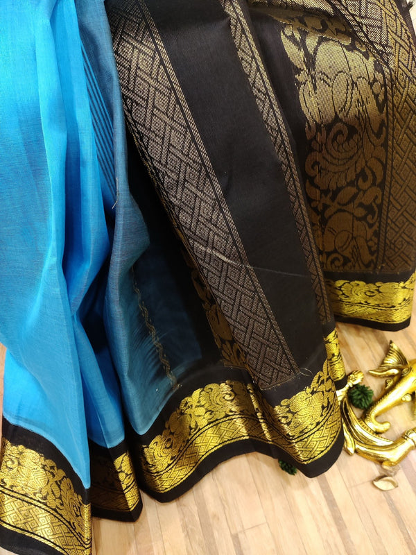 Silk cotton saree light blue and black with rich korvai zari border