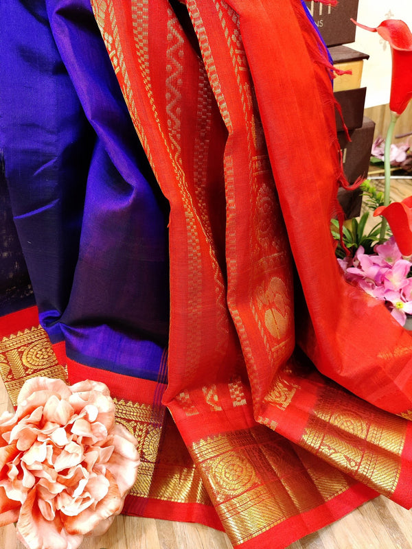 Silk cotton saree deep violet and red with rich korvai zari border