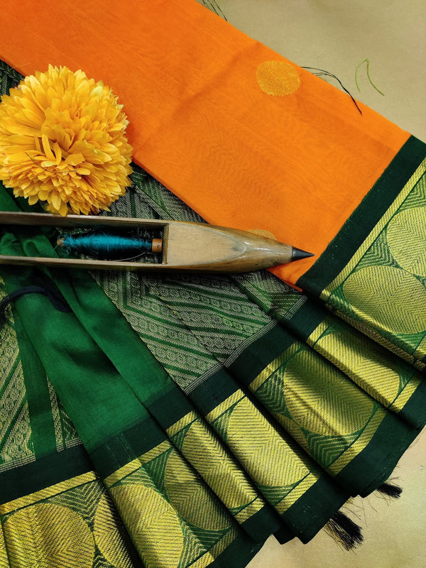 Silk cotton saree orange and green with zari woven buttas and zari border