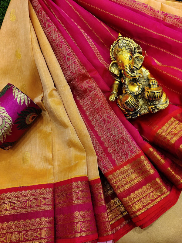 Silk cotton saree dual shade of sandal yellow and pink with zari woven buttas and zari border