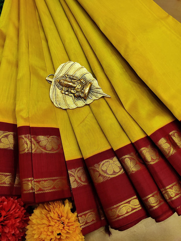 Silk cotton saree dual shade of mustard yellow and maroon with rich korvai zari border