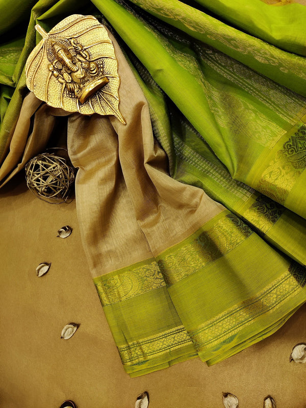 Silk cotton saree beige and light green with rich korvai zari border