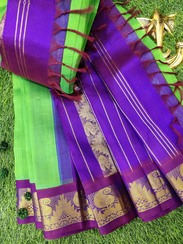 Silk cotton saree green and dual shade of violet with rich korvai zari border