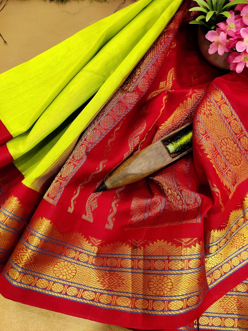 Silk cotton saree light green and red with rich korvai zari border