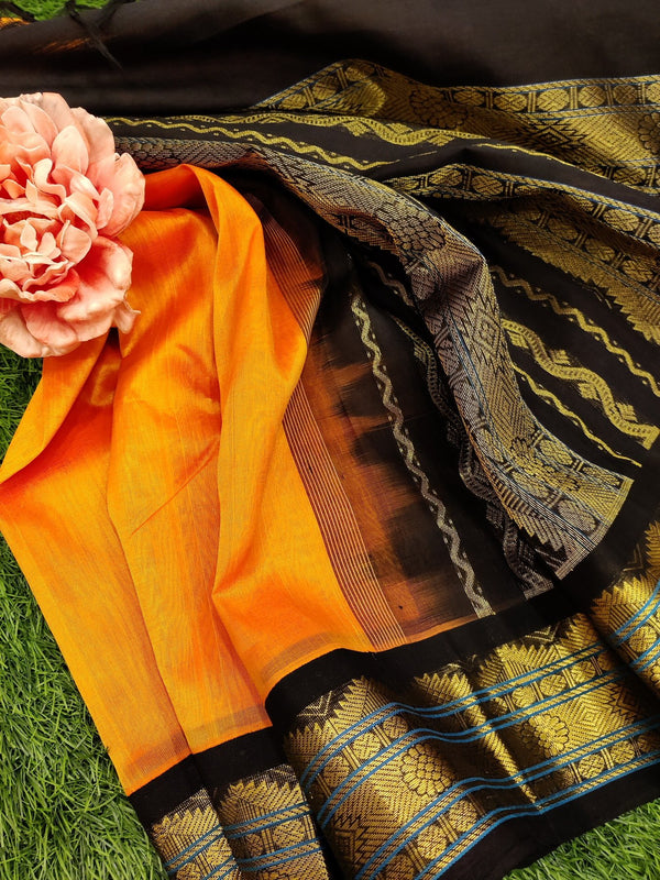 Silk cotton saree orange and black with rich korvai zari border