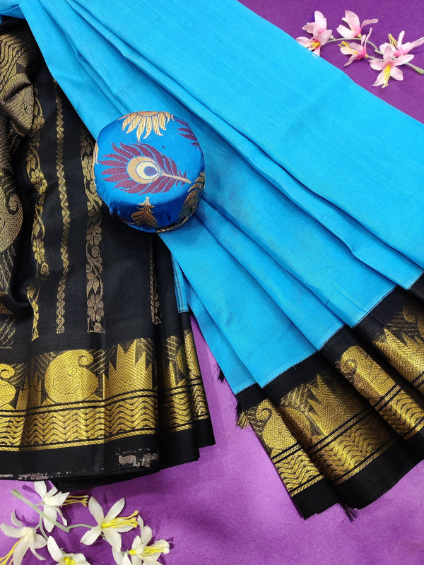 Silk cotton saree blue and black with rich korvai zari border